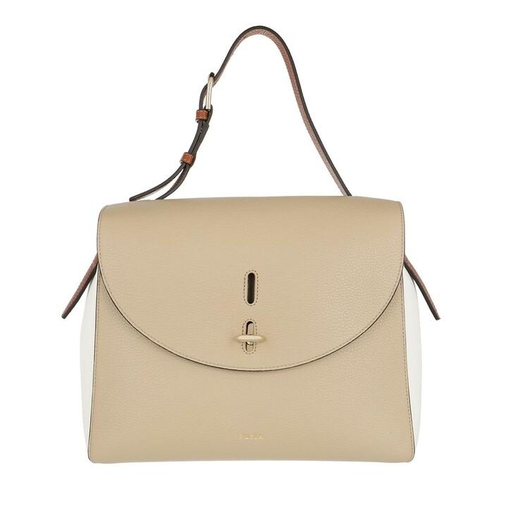 Handtasche, Furla, Furla Net M Top Handle - Vitello St.Eracle Colorbl Juta+Talco H+Cognac H