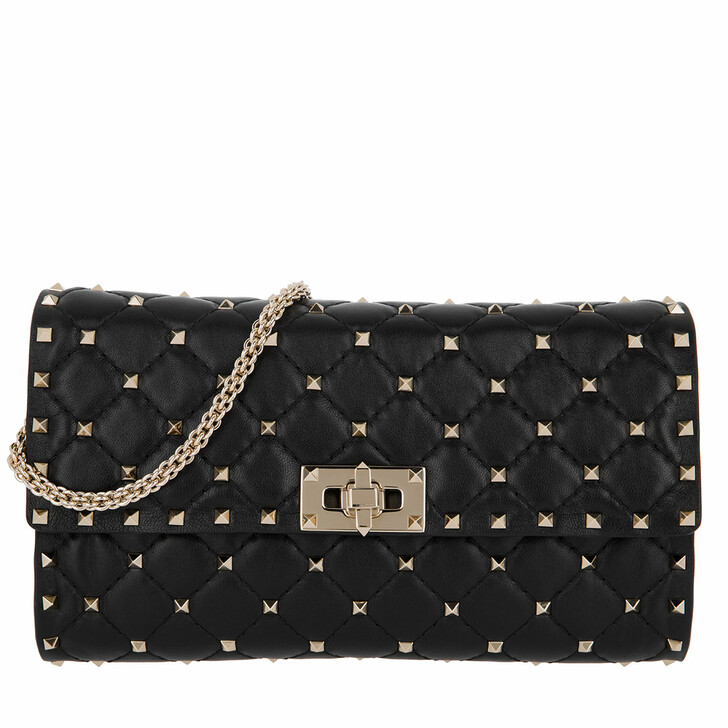 Handtasche, Valentino, Rockstud Clutch Quilted Leather Black