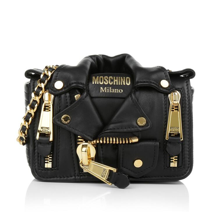 Handtasche, Moschino, Small Crossbody Biker Jacket Black Gold