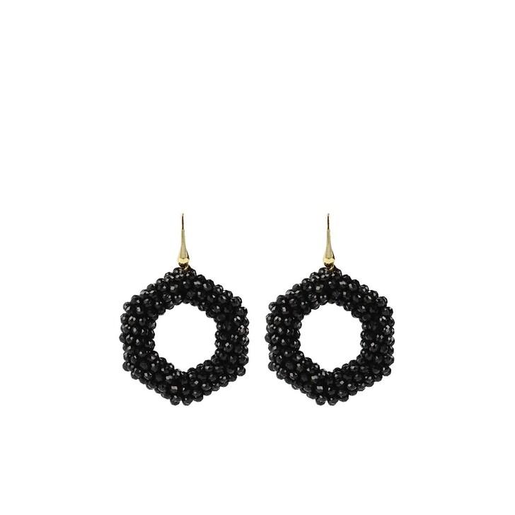 Ohrring, LOTT.gioielli, Glassberry hexagon black Gold