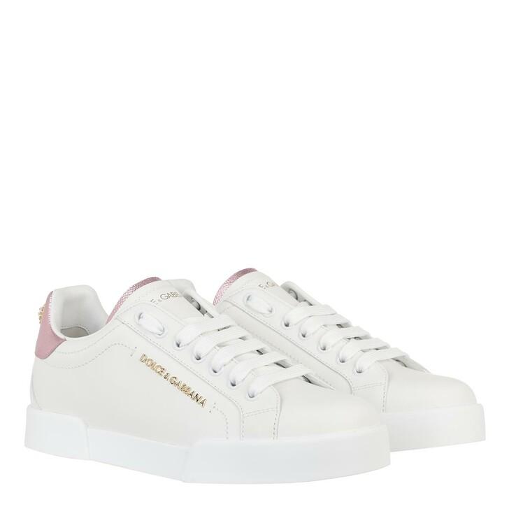 Schuh, Dolce&Gabbana, Portofino Pearl Sneakers Leather White Rose