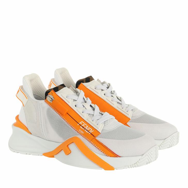 shoes, Fendi, Logo Sneakers White Orange