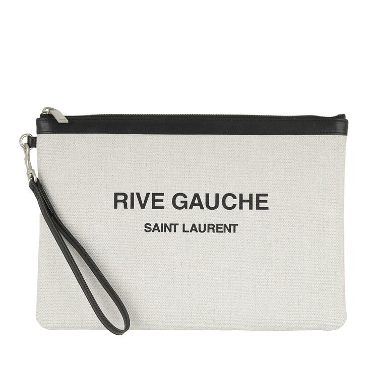 Handtasche, Saint Laurent, Rive Gauche Pochette Canvas White Linen