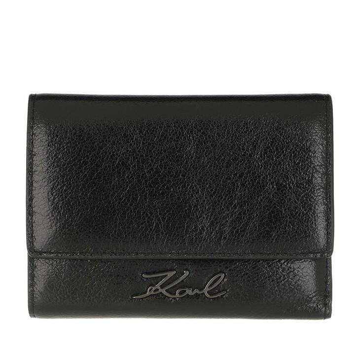 wallets, Karl Lagerfeld, K/Signature Met Flap Wallet  Black