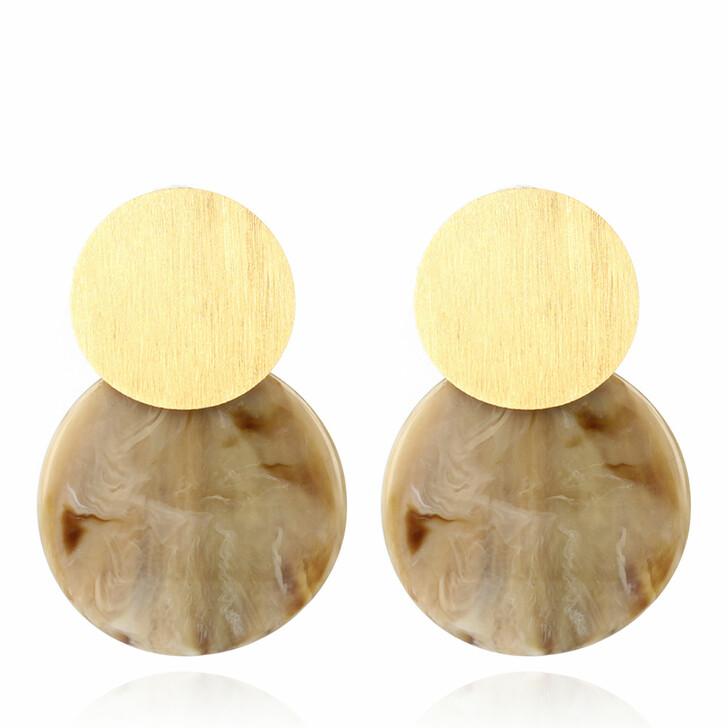 earrings, LOTT.gioielli, Earring Resin Curved Round Medium Beige Horne Look and Gold