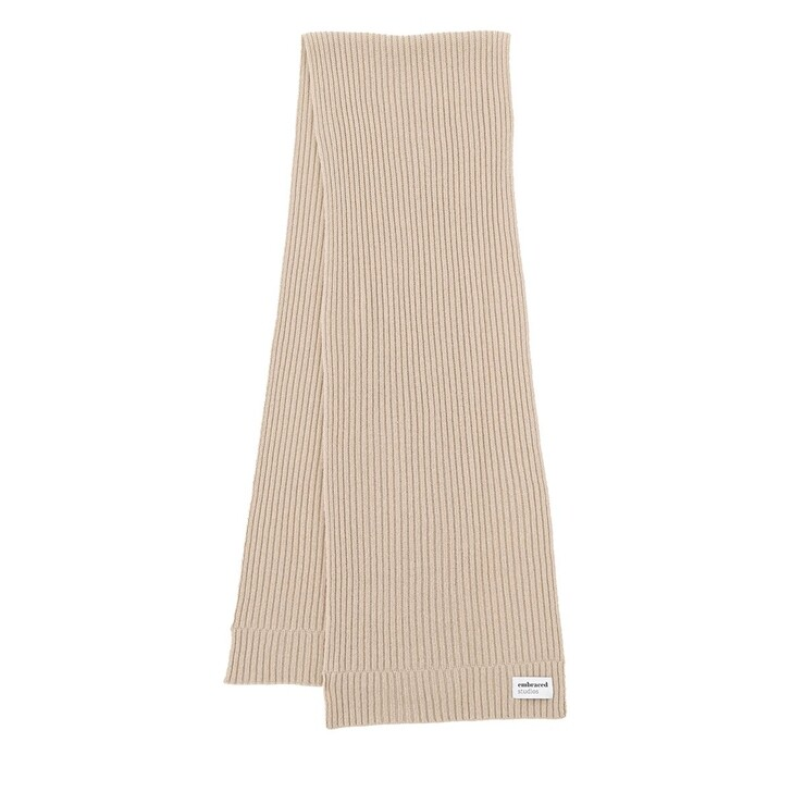 Schal, Embraced Studios, Wool-Cashmere Ribbed Scarf Beige
