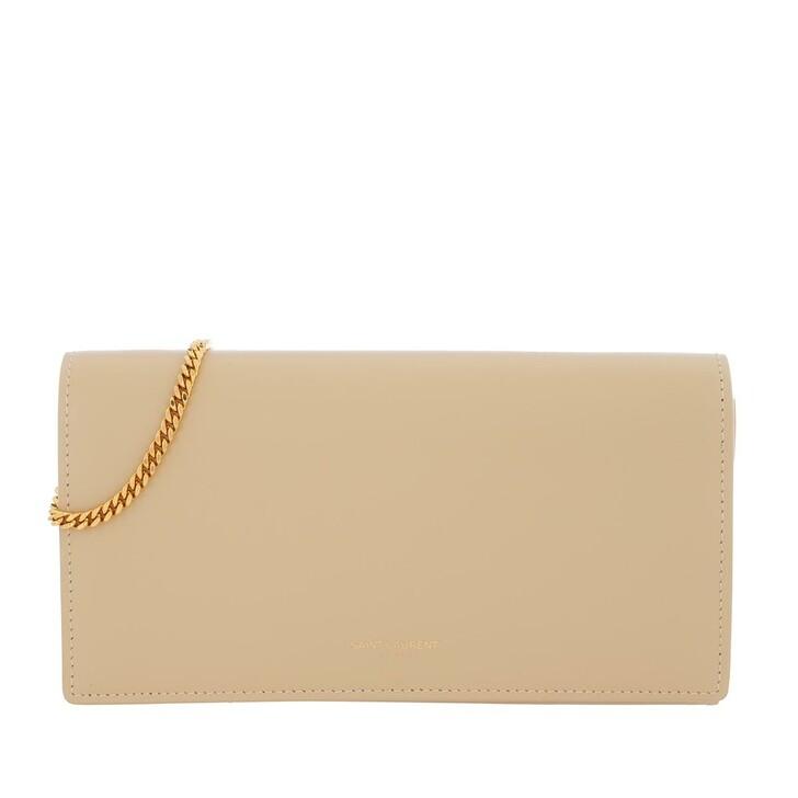 wallets, Saint Laurent, Wallet Leather Avorio