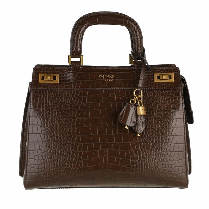 bags, Guess, Katey Large Luxury Handle Bag Brown