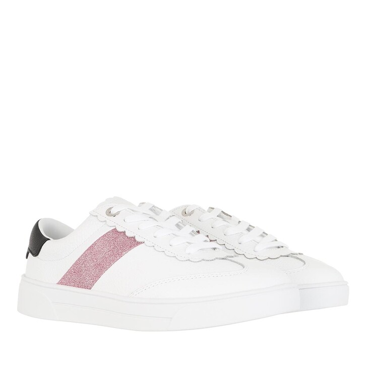 shoes, Ted Baker, Allva Retro Glitter Strip Scallop Trainer White