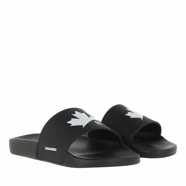 shoes, Dsquared2, Leaf Slide Sandal Black/White