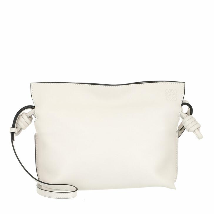 Handtasche, Loewe, Mini Flamenco Clutch Nappa Calfskin Soft White