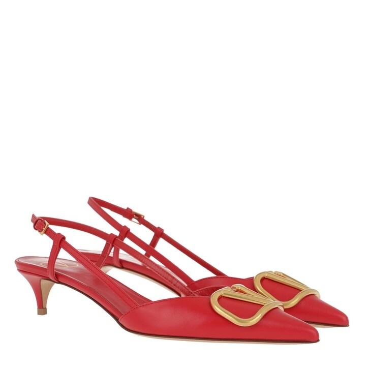Schuh, Valentino Garavani, V Slingback Pumps Leather Rouge Pur