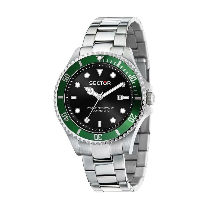 watches, Sector, 230 43Mm 3H Black Dial Br SS Silver