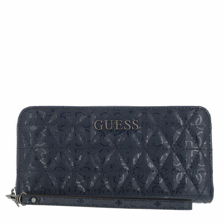 wallets, Guess, Noelle Slg Large Zip Around Midnight