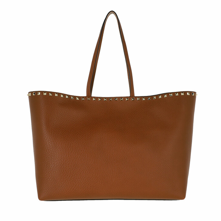 bags, Valentino Garavani, Rockstud Studded Shopping Bag Leather Marrone