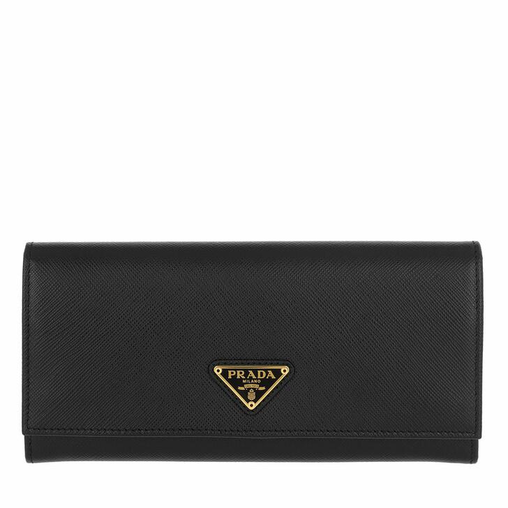 Geldbörse, Prada, Continental Wallet Leather Black