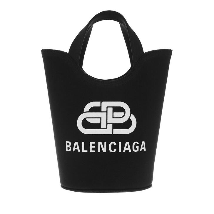 bags, Balenciaga, Small Wave Logo Tote Bag Black White