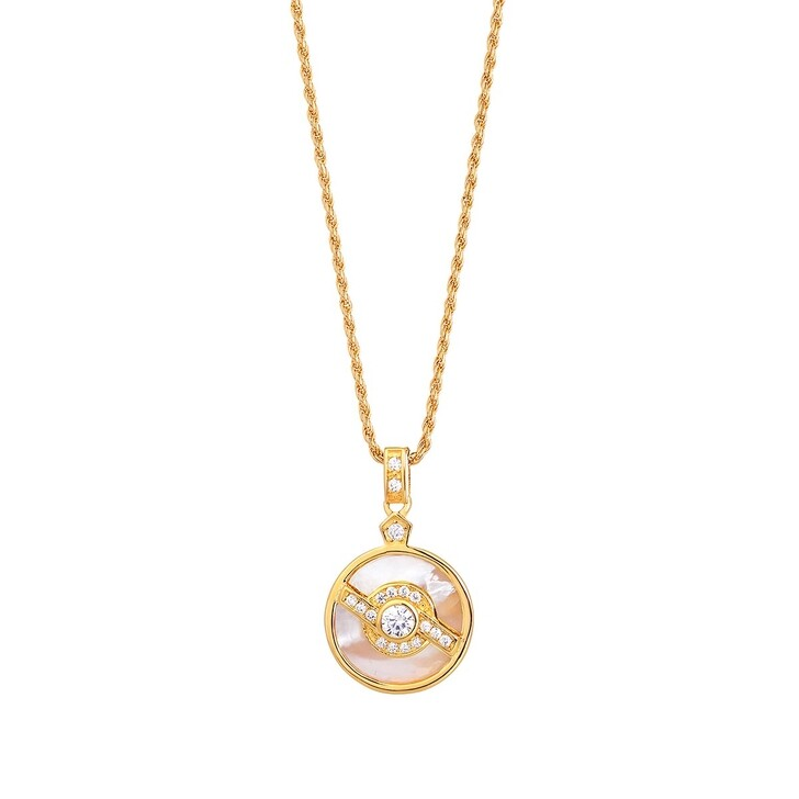 Schmuckset, V by Laura Vann, Edie Pendant with Pearl  Yellow Gold