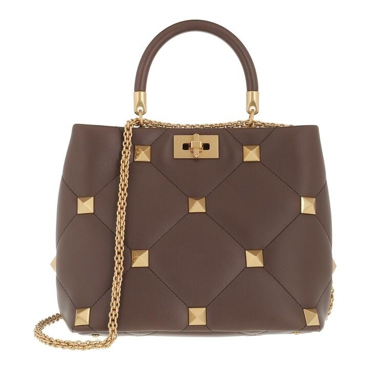 bags, Valentino Garavani, Roman Stud Handle Bag Teak Brown