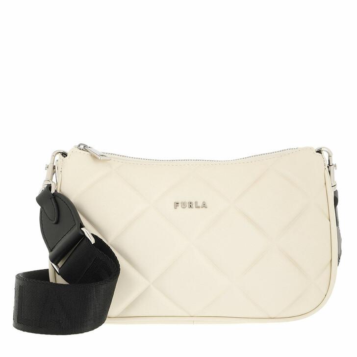 bags, Furla, Furla Moon S Shoulder Bag White Cotton+Nero
