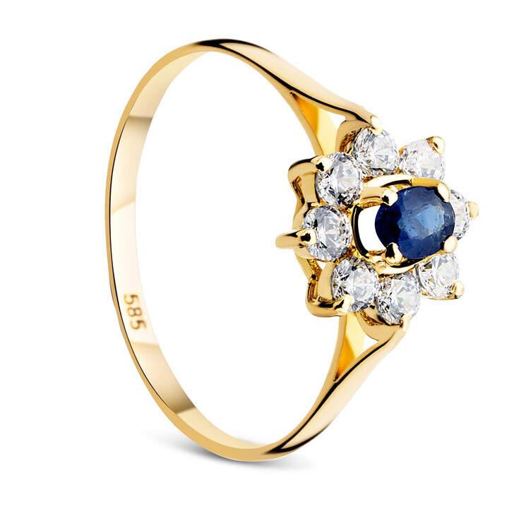 rings, DIAMADA, 14KT Sapphire With Cubic Zirconia Yellow Gold