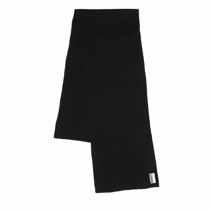 Schal, GANNI, Recycled Wool Scarf Black