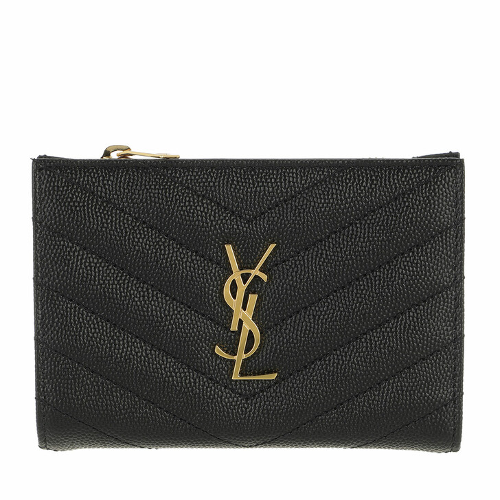 Geldbörse, Saint Laurent, Monogram Zippered Two Part Wallet Leather Black