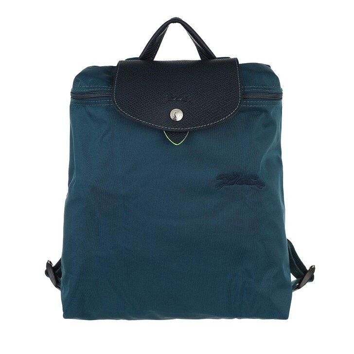 bags, Longchamp, Le Pliage Green Backpack Ocean Blue