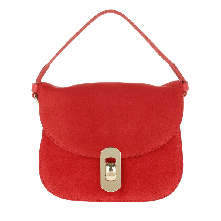 bags, Coccinelle, Mignon Suede Crossbody Bag Polish Red