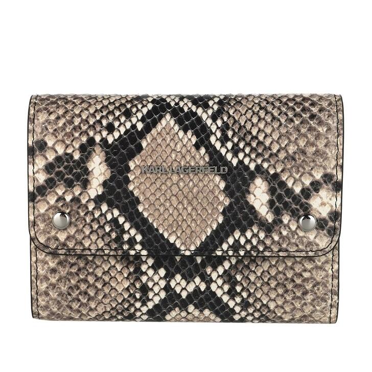 Geldbörse, Karl Lagerfeld, Ikonik Snake Medium Flap Wallet Natural