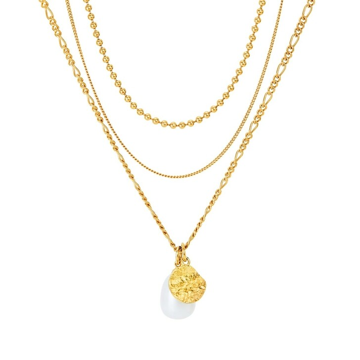 necklaces, BELORO, Necklace Layering Multi Chain Pearl Yellow Gold