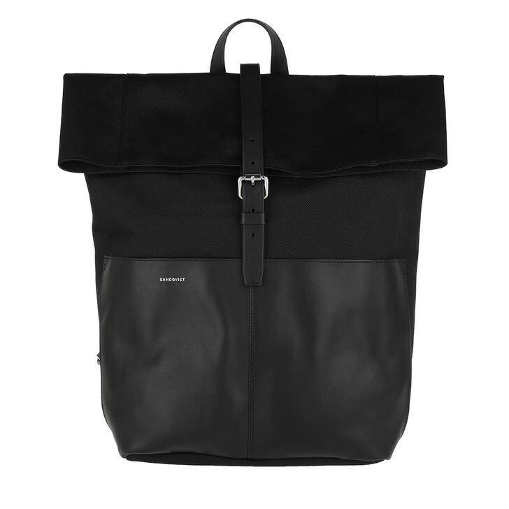 bags, Sandqvist, Antonia Twill Backpack Leather Black