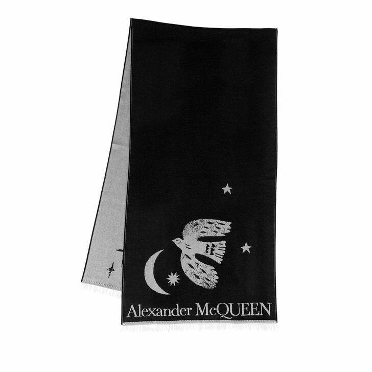 scarves, Alexander McQueen, Mystical Overs Scarf Black/Ivory