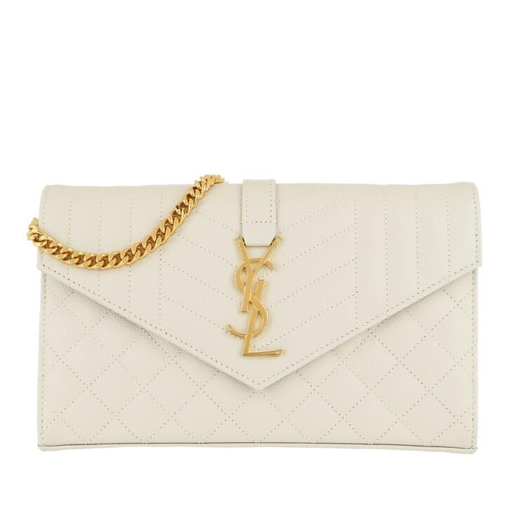 Geldbörse, Saint Laurent, Matelasse Monogram Chain Wallet  Crema Soft