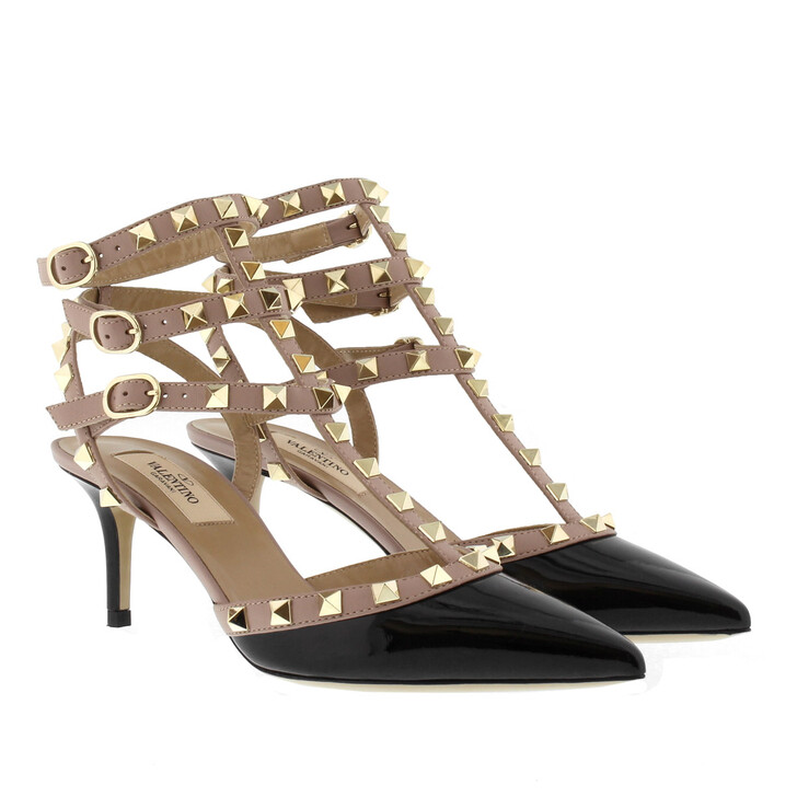 Schuh, Valentino Garavani, Rockstud Ankle Strap Pump Black Poudre