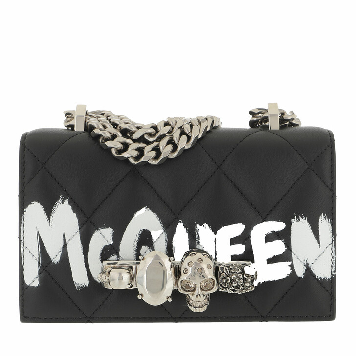 bags, Alexander McQueen, Skull Jewelled Quilted Mini Crossbody Bag Black/Ivory