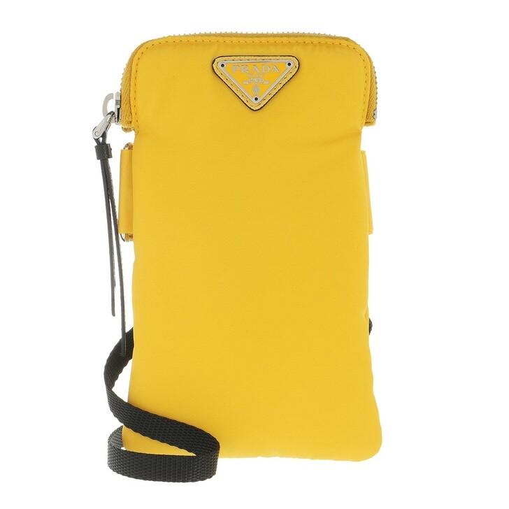 Smartphone/Tablet case (Case), Prada, Logo Plaque Phone Pouch Yellow