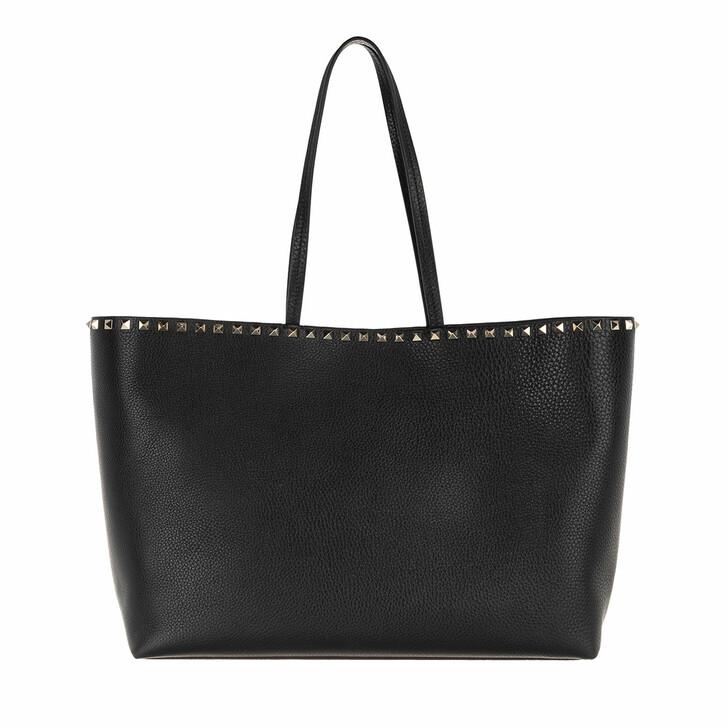 Handtasche, Valentino Garavani, Rockstud Studded Shopping Bag Leather Nero