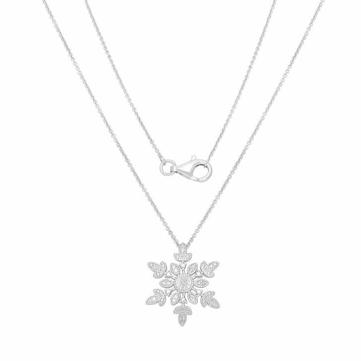 necklaces, BELORO, Pendant Necklace Diamond   Silver Rhodium Plated