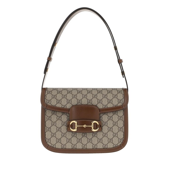 Handtasche, Gucci, Horsebit 1955 Shoulder Bag GG Supreme Brown