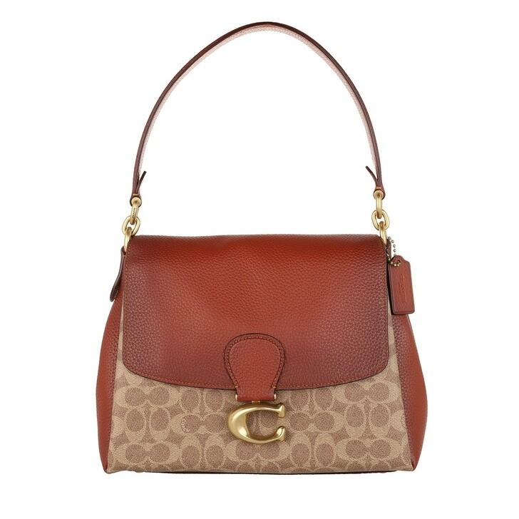 bags, Coach, Coated Canvas Signature May Shoulder Bag Tan Rust