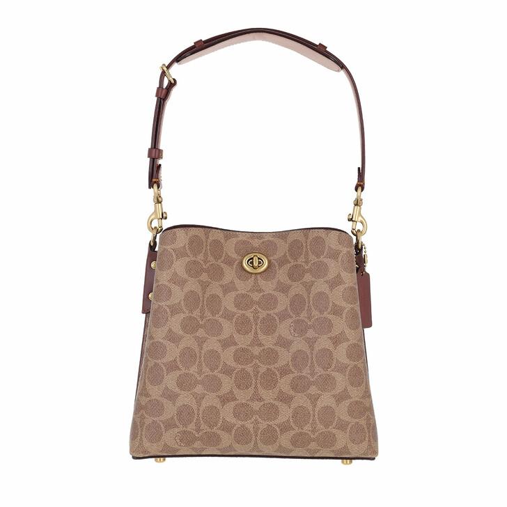 bags, Coach, Coated Canvas Signature Willow Bucket Bag 21 B4/Tan Rust
