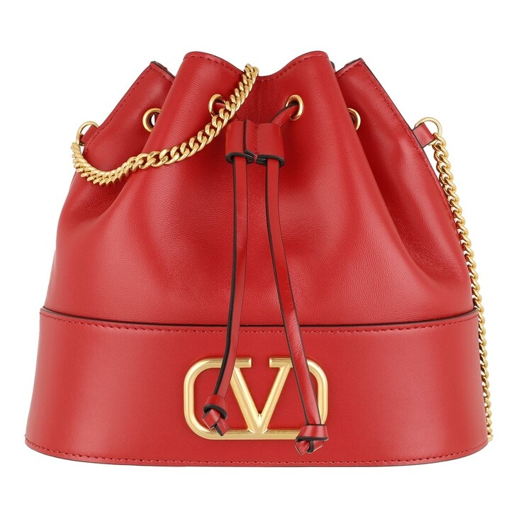 Handtasche, Valentino Garavani, V Logo Bucket Bag Leather Red Valentino