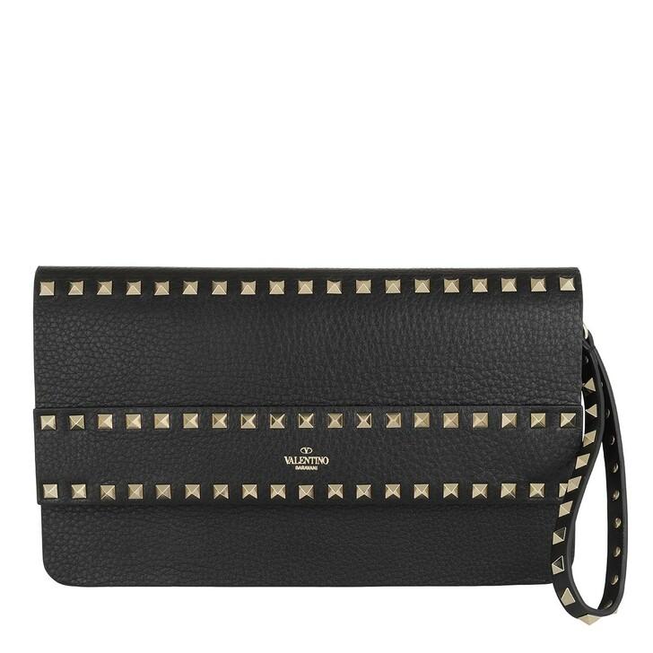 Handtasche, Valentino, Rockstud Clutch Leather Black