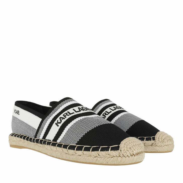 Schuh, Karl Lagerfeld, KAMINI Karl Woven Slip On White Knit Textile w/Black