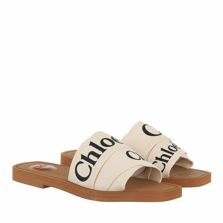 shoes, Chloé, Canvas Logo Sandals White