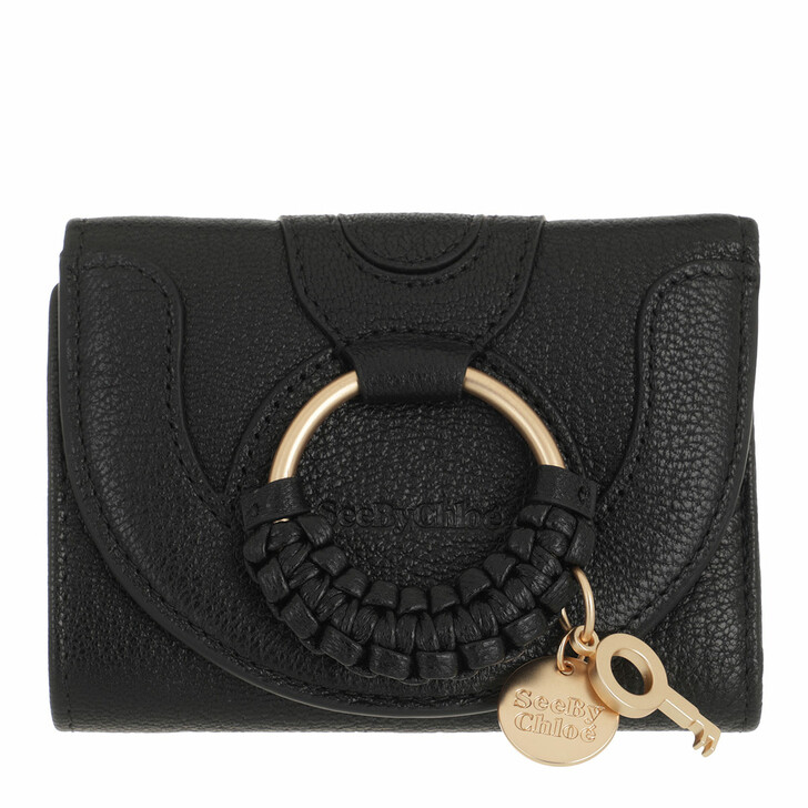 wallets, See By Chloé, Compact Wallet Leather Black