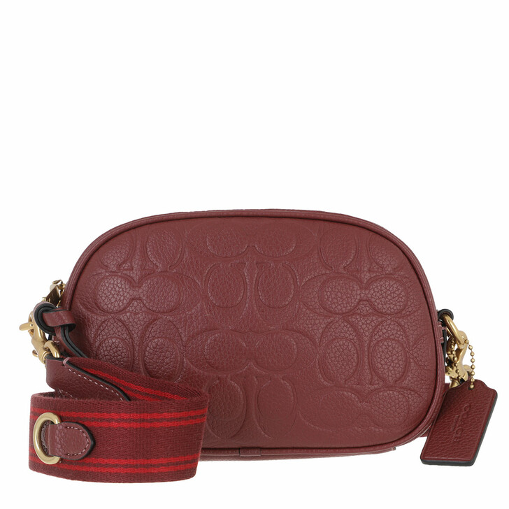 bags, Coach, Signature Leather Coach Badge Camera Crossbody B4 Wine Multi