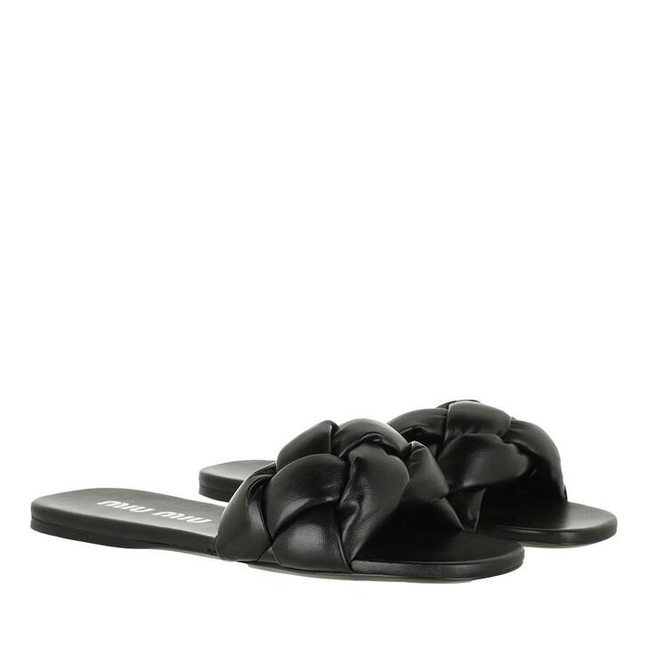 Schuh, Miu Miu, Padded Flat Sandals Leather Black