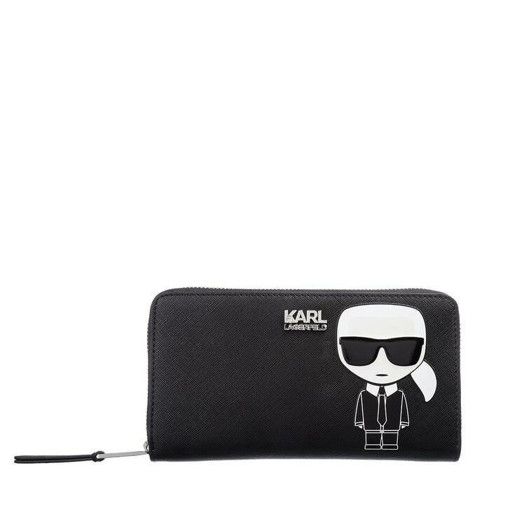 Geldbörse, Karl Lagerfeld, K/Ikonik Cont Zip Wallet Black